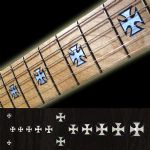 Iron Cross Whitesilver Fret Markers Inlay Sticker Decal Guitar